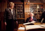 Michael D. Higgins, President of Ireland, and Sabina Higgins visit the John Rylands Library.