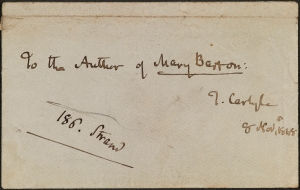 Envelope addressed by Thomas Carlyle, Accession No. 2013/002