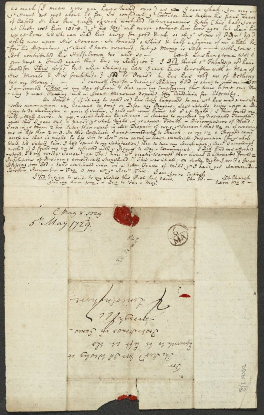 Letter of Charles Wesley to John Wesley, 5 May 1729 (Ref: MARC DDCW 1-3)