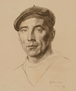 Portrait of David Arkell, made in 1943 by an unknown artist, while he was interned in France.