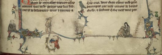 Below the text of the opening of the Mort Artu (Death of Arthur), a nun suckles a monkey, while a strange archer shoots at a bird. French MS 1, f. 212r. This manuscript has been heavily cropped, resulting in the mutilation of many images.