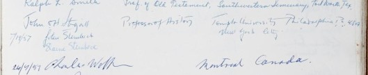 Page from the visitors book of the John Rylands Library showing the signatures of John Steinbeck and his wife Elaine, 19 July 1957.