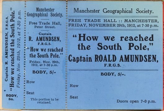 Ticket to a lecture delivered to the Manchester Geographical Society by Roald Amundsen, 1912