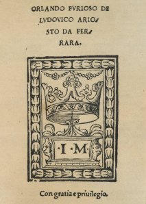 Title Page, Orlando Furioso (1516). Spencer 12194