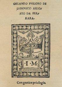 Title Page, Orlando Furioso (1516). Spencer 12194