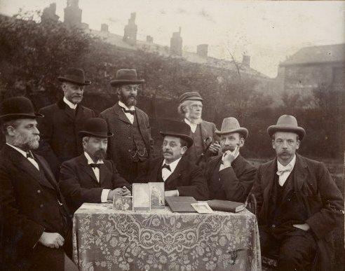 Members of the Bolton Whitman Fellowship, with some of their Whitman memorabilia