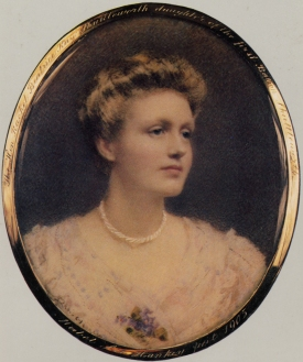 Rachel Kay- Shuttleworth, aged 18, miniature portrait by Mabel Lee Hankey, 1905. © Gawthorpe Textile Collection.