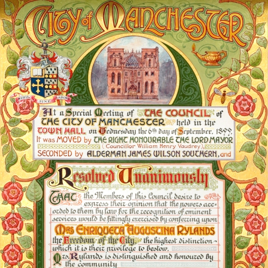 This Freedom of the City of Manchester scroll presented to Mrs Enriqueta Rylands in October 1899.