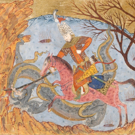Rustam and the dragon from Ferdowsi's epic poem, Shahnama.