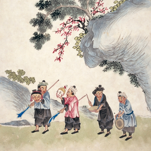 Illustration of Miao performers with masks and instruments. This art was produced for the Chinese market rather than the West.