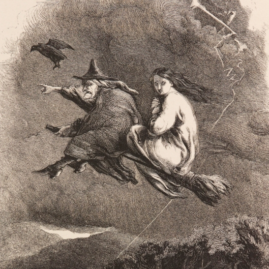 Happy Halloween! Join us on The Ride Through The Murky Air! This 19th century illustration shows a witch and passenger flying through the air on a broomstick. Trick or treat?