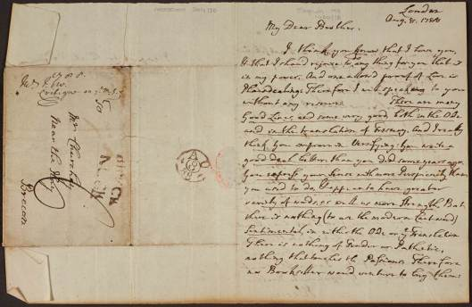 Letter from John Wesley to Walter Churchey. English MS 1400/18.