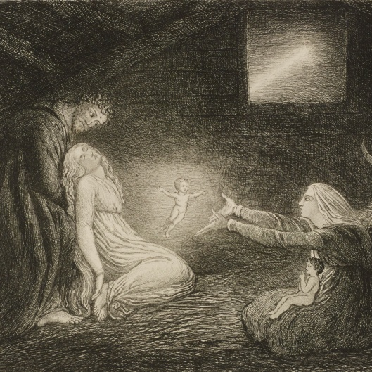 This extraordinary image of the Nativity is an engraving by William Bell Scott after William Blake's painting (now in the Philadelphia Museum of Art). Bell Scott was fascinated by Blake's design, which he described as depicting 'an entirely miraculous and supernatural event.'