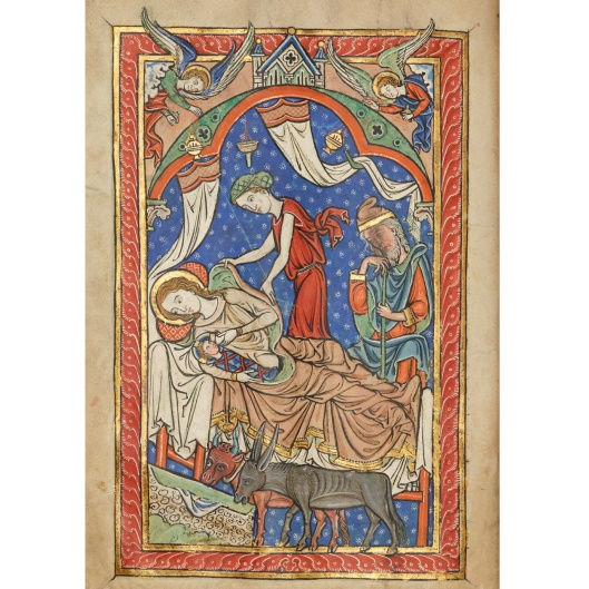 This image is from a mid-thirteenth century English missal (a prayer book) created in memory of Henry of Chichester in the scriptorium of Salisbury Cathedral. It shows Mary suckling the newborn Jesus, lying in a bed that would surely have been out of place in a stable!