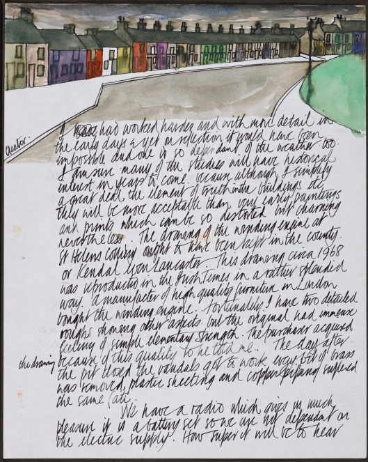 This letter from Kelly dated 15 December 1973 includes a painting of Trumpet Terrace, Cleator Moor (Nicholson's poem 'Cleator Moor' appeared in his first collection, Five Rivers).