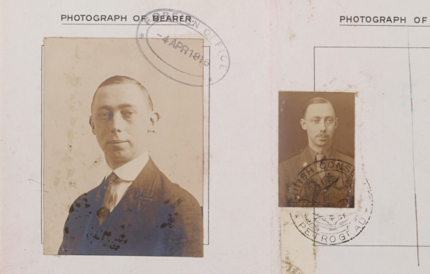 Geoffrey Jefferson's passport, showing him in civilian dress and military uniform, ref. JEF/1/4/2/1.
