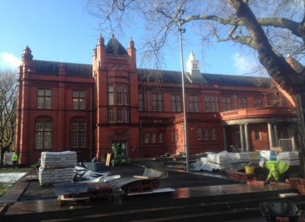 The Whitworth Art Gallery in January 2015 showing builders making some finishing touches to the forecourt prior to the official reopening in February 2015. Photograph: M.Schofield
