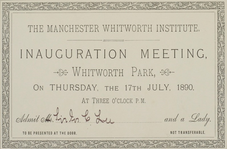Whitworth art gallery john rylands library special collections blog sir joseph lees personal invitation to the official opening of whitworth park whitworth art gallery stopboris Image collections
