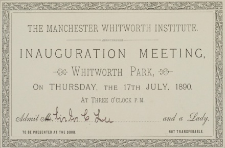 Sir Joseph Lee's personal invitation to the official opening of Whitworth Park, Whitworth Art Gallery Archive, WAG/1/1/10/9.