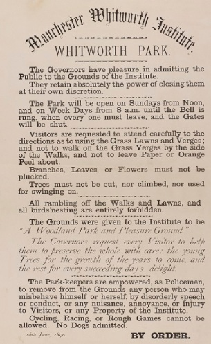 The rules for entry to Whitworth Park, 16 June 1890, Whitworth Art Gallery Archive, WAG/1/1/10/10.
