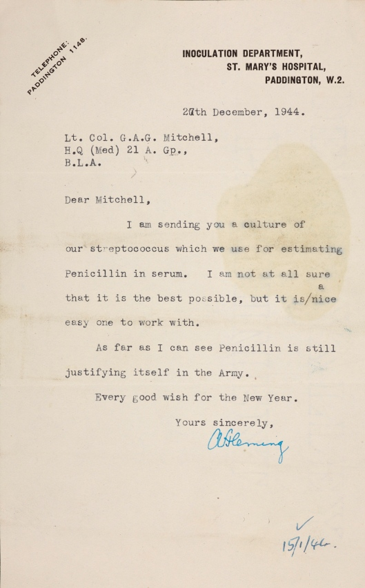 Letter from Fleming, 27 December 1944, sending a culture of streptococcus for estimating penicillin in serum (GGM/2/3).