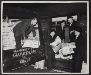 Delivering the Manchester Guardian, from the Guardian Archive. Image reproduced courtesy of Guardian News and Media Ltd