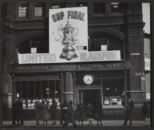 The Manchester Guardian and Evening News Advertisement Office on Cross Street in Manchester. Dated to 1948 based on the teams playing in the FA Cup Final! From the Guardian Archive. Image reproduced courtesy of Guardian News and Media Ltd.