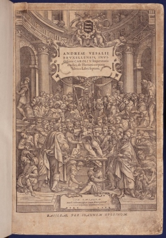 Vesalius, De humani corporis fabrica, 1555, title-page (Medical pre-1701 Collection 2500b)