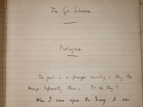 Detail of the holograph manuscript of The Go-Between. LP Hartley Papers, box 18/1.