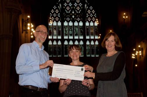 Mike Anson (BAC), presents the 'cheque' to Fran Baker (Archivist),and Jane Speller (Guardian Project Archivist).