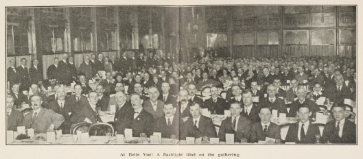 Manchester Guardian Centenary Dinner for the staff, held in the Chinese Hall at Belle Vue. The dinner was hotpot with red cabbage. Picture from the House Journal, no. 17, June 1921 (GDN/324/8)