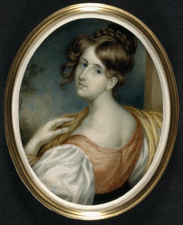Portrait miniature of Elizabeth Gaskell [née Stevenson] by W. J. Thomson.