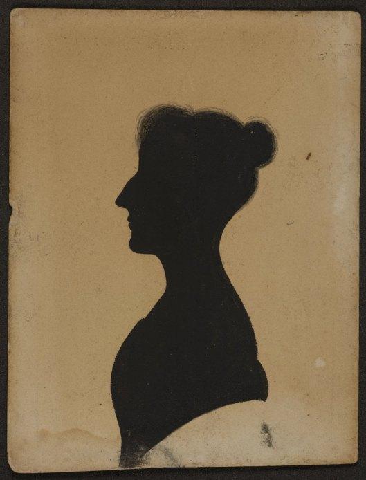 Silhouette portrait of Elizabeth Gaskell.