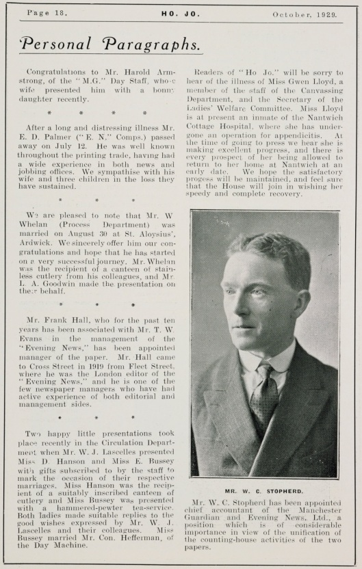 'Personal Paragraphs', House Journal, no. 62, October 1928