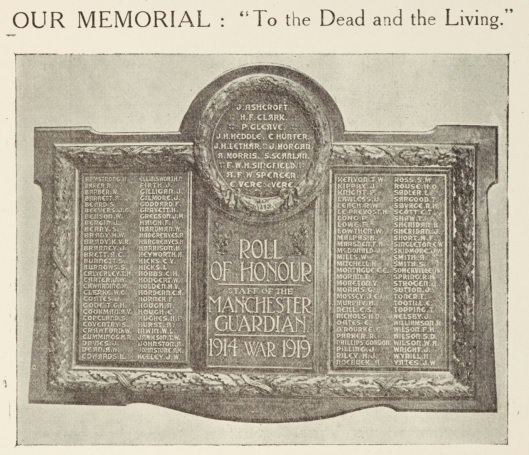 'Role of Honour: staff of the Manchester Guardian: 1914-1919 War', memorial plaque. Image from the House Journal, no. 18, June 1921