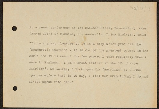 Memo quoting the Australian Prime Minister Sir Robert Menzies.