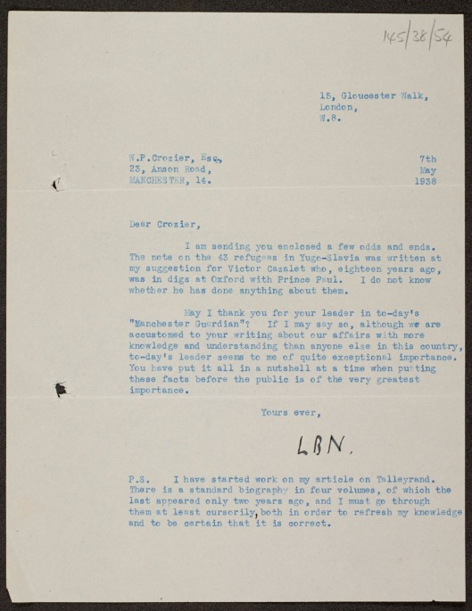 Letter from Lewis Namier to W.P. Crozier
