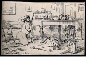 V0006739 The effects of liquid chloroform on Simpson and his friends. Credit: Wellcome Library, London. Wellcome Images images@wellcome.ac.uk http://wellcomeimages.org The effects of liquid chloroform on Sir J. Y. Simpson and his friends. The shattered drinking-glass used by one of the experimenters lies on the floor. Pen and Ink 1840's Published: - Copyrighted work available under Creative Commons Attribution only licence CC BY 4.0 http://creativecommons.org/licenses/by/4.0/