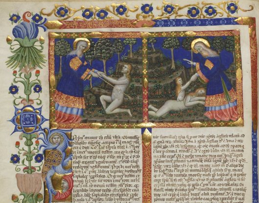 God creating Adam and Eve, from Nicholas of Lyra's Commentary on the Bible, Latin MS 29, fol. 2v
