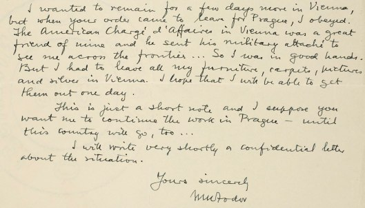 Extract from another 1938 letter to Crozier, in which Fodor describes leaving his possessions behind in Vienna.