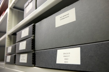 Archive boxes from the Delia Derbyshire Archives