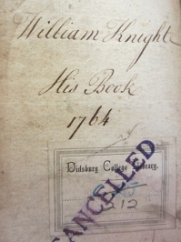 An image of the front pastedown of a book from the collection, with 'William Knight His Books 1764' noted above a Didsbury College Library bookplate which has been stamped 'cancelled'.