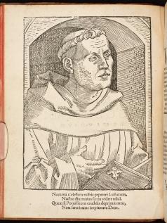 A portrait of Martin Luther printed in 'De captivitate Babylonica Ecclesiae' (Strasbourg, 1520).