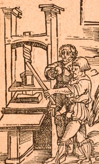 Rare depiction of a printing press on the titlepage of Luther's Auff des Bocks zu Leypczick Antwort (Wittenberg, 1521).
