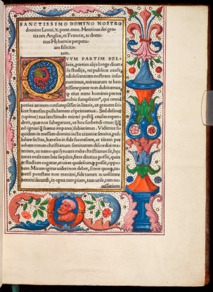 Decorated page from the luxurious copy of Assertio septem sacramentorum (JRL 18952 leaf a2r).)