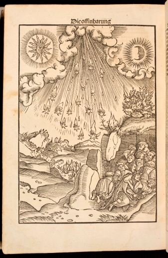 Woodcut showing fire raining down on a city, with people huddling in the foreground, from Luther's New Testament.