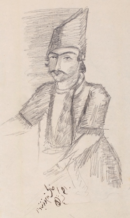 Pencil sketch of a Persian man