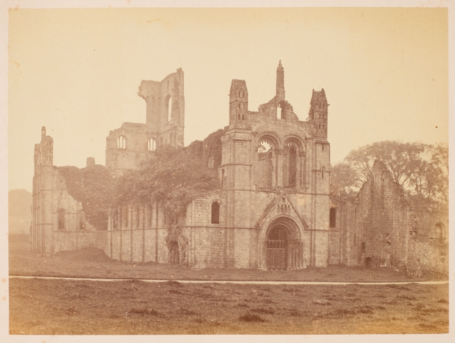 View of Kirkstall Abbey, a ruined Cistercian monastery founded c.1152.