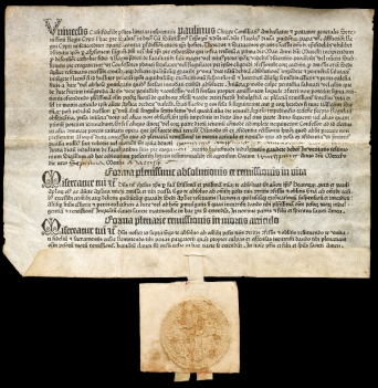 An image of a fifteenth century ingulence, printed with manuscript additions, including a seal.
