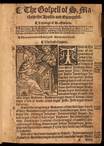 Photograph of the first page of the Gospel of St Mark showing a woodcut of the Evngelist.